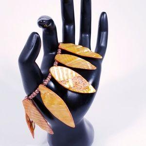 Orange Feather Look Dangle Bracelet / Anklet